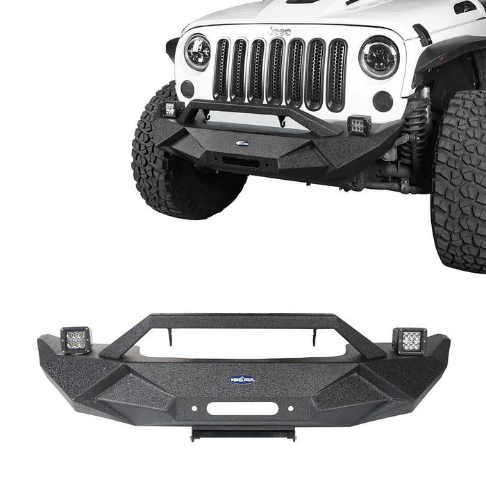 Hooke Road Jeep JK Front and Rear Bumper Combo for 2007-2018 Jeep Wrangler JK Jeep JK Stubby Front Bumper Blade Master Front Bumper Different Trail Rear Bumper JK Front and Rear Bumper Package u-Box Offroad 4