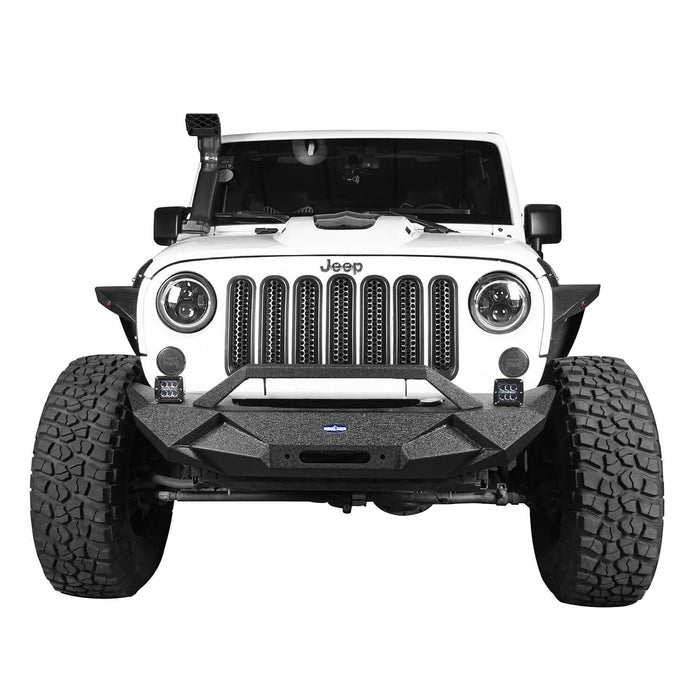 Hooke Road Jeep JK Front and Rear Bumper Combo for 2007-2018 Jeep Wrangler JK Jeep JK Stubby Front Bumper Blade Master Front Bumper Different Trail Rear Bumper JK Front and Rear Bumper Package u-Box Offroad 5