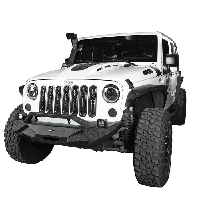 Hooke Road Jeep JK Front and Rear Bumper Combo for 2007-2018 Jeep Wrangler JK Jeep JK Stubby Front Bumper Blade Master Front Bumper Different Trail Rear Bumper JK Front and Rear Bumper Package u-Box Offroad 6