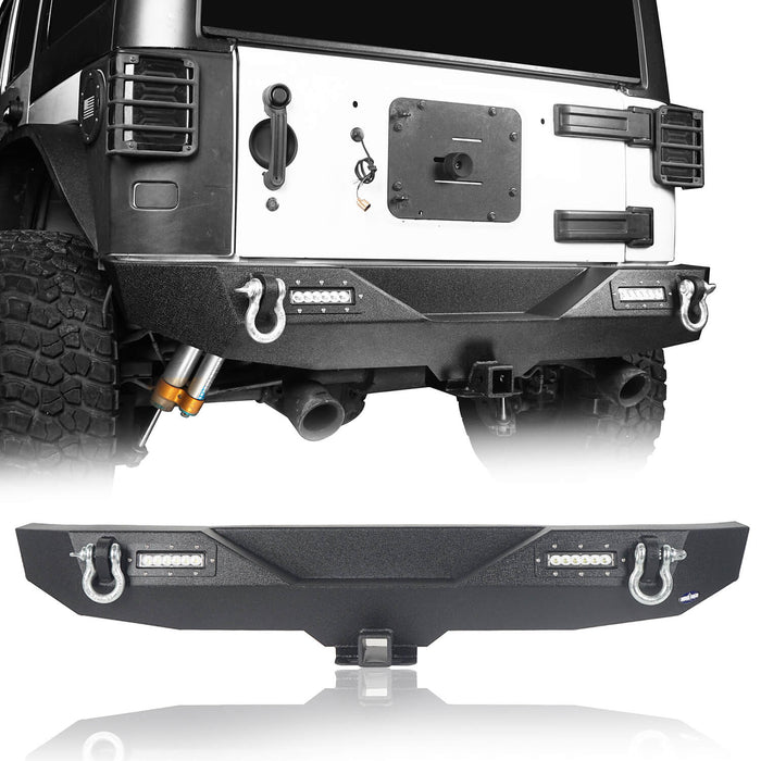 Hooke Road Jeep JK Front and Rear Bumper Combo for 2007-2018 Jeep Wrangler JK Jeep JK Stubby Front Bumper Blade Master Front Bumper Different Trail Rear Bumper JK Front and Rear Bumper Package u-Box Offroad 8