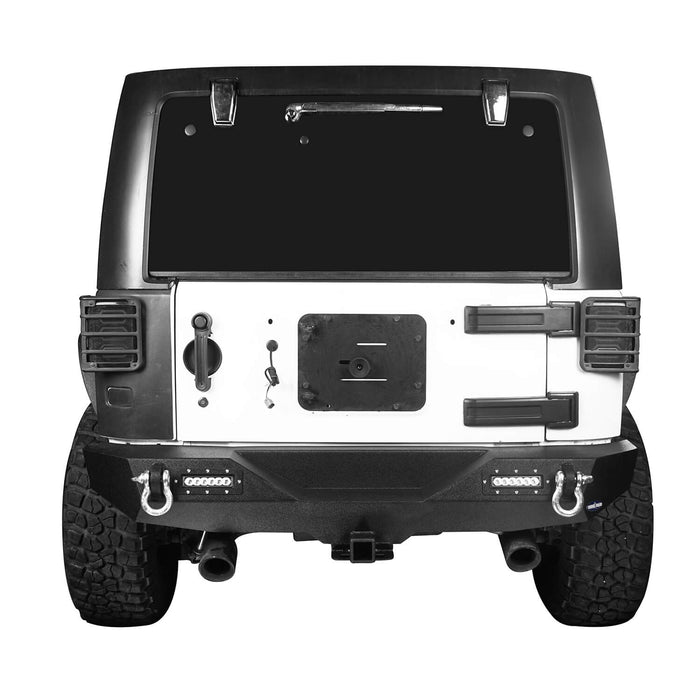 Hooke Road Jeep JK Front and Rear Bumper Combo for 2007-2018 Jeep Wrangler JK Jeep JK Stubby Front Bumper Blade Master Front Bumper Different Trail Rear Bumper JK Front and Rear Bumper Package u-Box Offroad 9