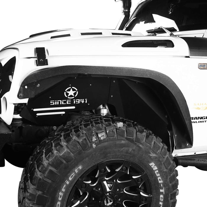 Hooke Road Jeep JK Front Inner Fender Liners Jeep Rear Inner Fender Liners Jeep JK Body Armor Fenders for 2007-2018 Jeep Wrangler JK MMR1760BXG223 Jeep Exterior Accessories 3