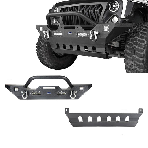 Hooke Road Jeep JK Mid Width Front Bumper with Winch Plate Front Skid Plate for Jeep Wrangler JK 2007-2018 BXG143BXG204 Jeep Accessories u-Box offroad 2