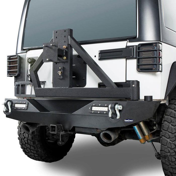 Hooke Road  Jeep JK Rear Bumper with Tire Carrier Different Trail Bumper for Jeep Wrangler JK 2007-2018 BXG114 u-Box offroad 5
