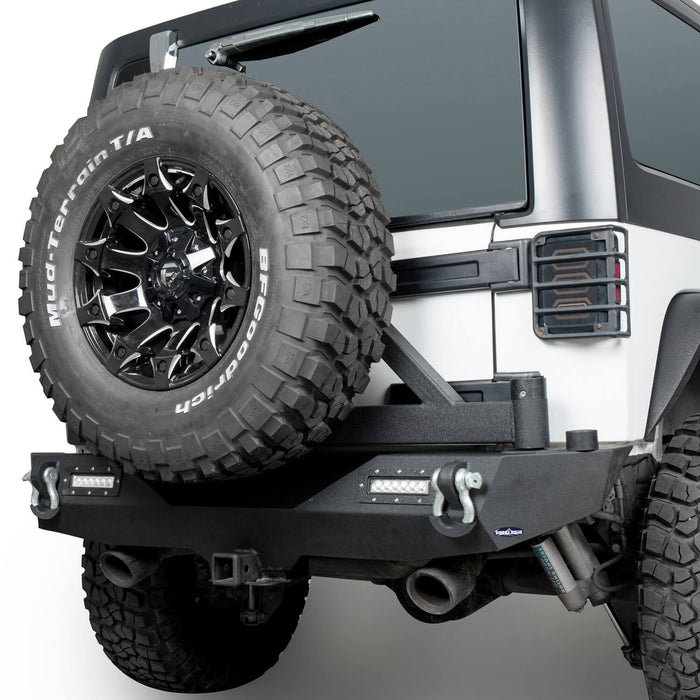 Hooke Road  Jeep JK Rear Bumper with Tire Carrier Different Trail Bumper for Jeep Wrangler JK 2007-2018 BXG114 u-Box offroad 6