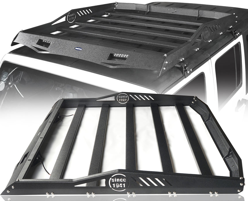Hooke Road Jeep JK Roof Rack Cargo Carrier Rack Luggage Rack Storage Roof Rack for Jeep Wrangler JK 4 Doors 2007-2018 BXG212 Jeep Rack Jeep Accessories u-Box Offroad 2