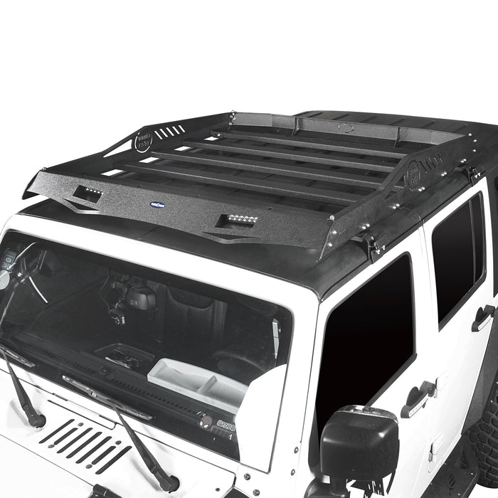 Hooke Road Jeep JK Roof Rack Cargo Carrier Rack Luggage Rack Storage Roof Rack for Jeep Wrangler JK 4 Doors 2007-2018 BXG212 Jeep Rack Jeep Accessories u-Box Offroad 3