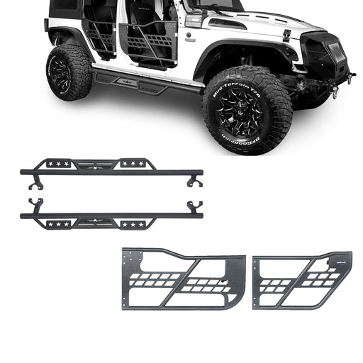Hooke Road® 4 Door Side Steps & Tubular Half Doors Combo(07-18 Jeep Wrangler JK)