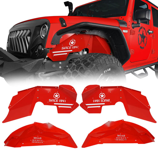 Hooke Road Vivid Red Front & Rear Inner Fender Liners Kit(07-18 Jeep Wrangler JK)