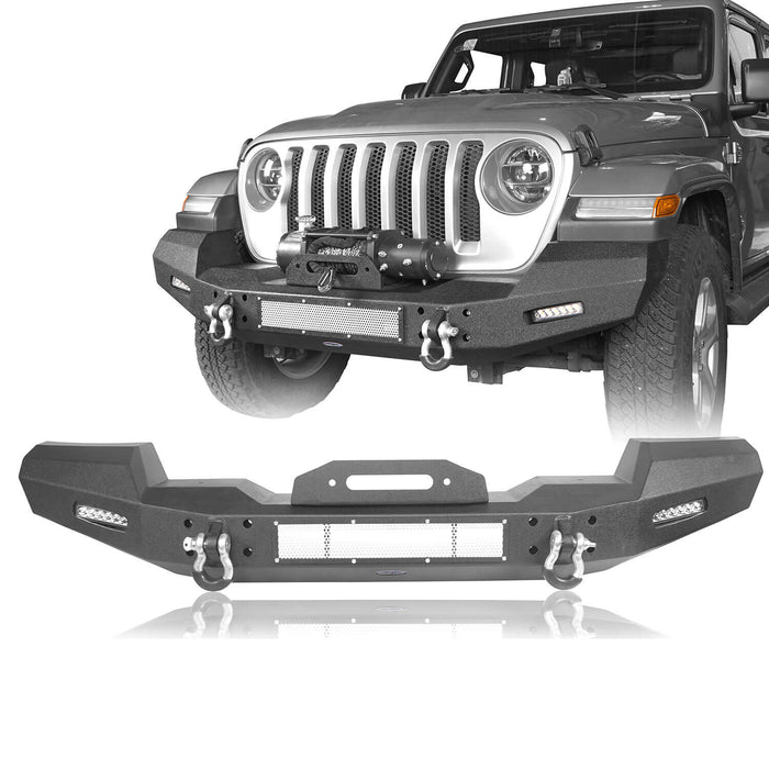 Hooke Road Jeep JL Front Bumper Climber Front Bumper with Winch Plate for Jeep Wrangler JL 2018-2019 BXG516 Jeep JL Bumper Jeep JL Accessories u-Box Offroad 2