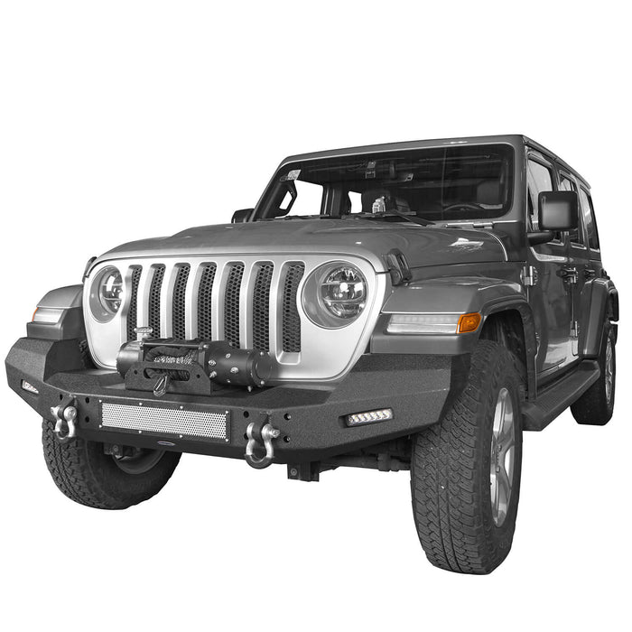 Hooke Road Jeep JL Front Bumper Climber Front Bumper with Winch Plate for Jeep Wrangler JL 2018-2019 BXG516 Jeep JL Bumper Jeep JL Accessories u-Box Offroad 4