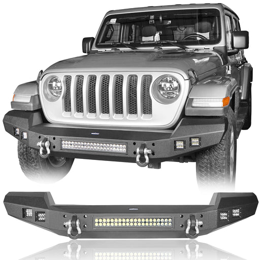 Hooke Road Jeep JL Front Bumper with LED Lights Climber Front Bumper for Jeep Wrangler JL 2018-2019 BXG515 Jeep JL Accessories u-Box Offroad 2