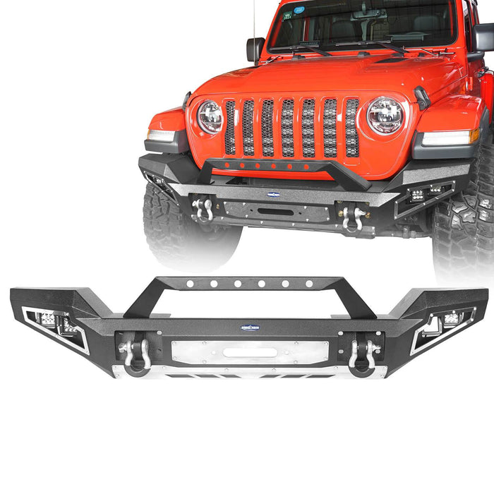 Hooke Road Jeep JL Full Width Front Bumper with Winch Plate for Jeep Wrangler JL 2018-2020 BXG517 Jeep JL Accessories u-Box offroad 2