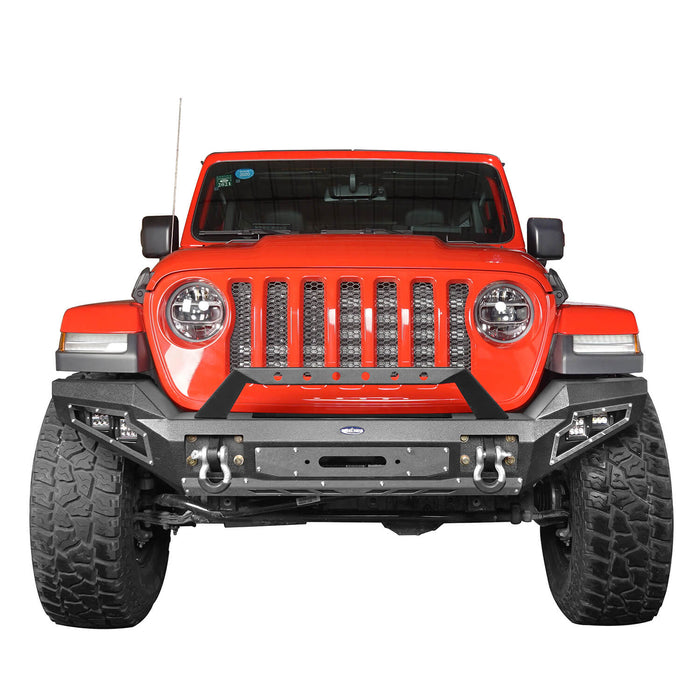Hooke Road Jeep JL Full Width Front Bumper with Winch Plate for Jeep Wrangler JL 2018-2020 BXG517 Jeep JL Accessories u-Box offroad 3