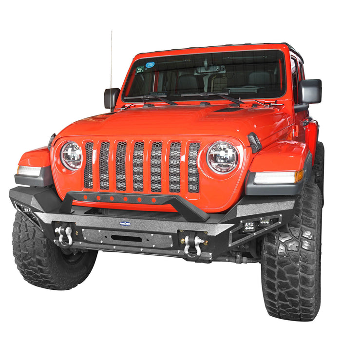 Hooke Road Jeep JL Full Width Front Bumper with Winch Plate for Jeep Wrangler JL 2018-2020 BXG517 Jeep JL Accessories u-Box offroad 4