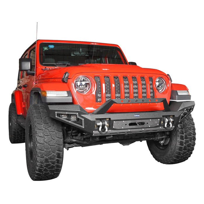 Hooke Road Jeep JL Full Width Front Bumper with Winch Plate for Jeep Wrangler JL 2018-2020 BXG517 Jeep JL Accessories u-Box offroad 5