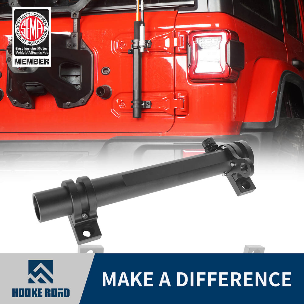 Hooke Road Tailgate Hinge Mount Single Flag & Antenna Holder Kit for 18-20 Jeep Wrangler JL Jeep JL Parts MMR1819 u-Box offroad 1