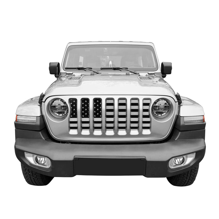 Hooke Road USA Flag Mesh Grille Insert Steel Black & White(Jeep Wrangler JL 18-19)