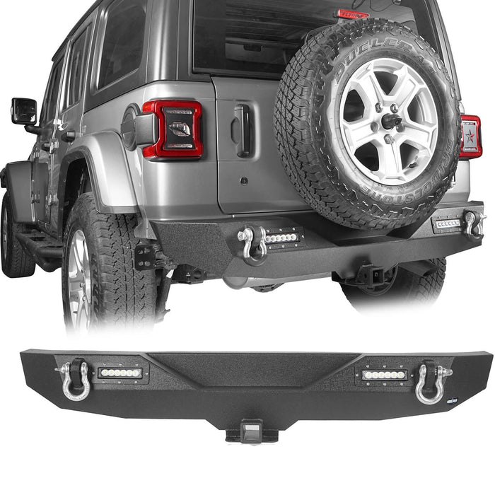 Hooke Road Jeep JL Mid Width Front Bumper with Winch Plate Rear Bumper for 2018-2019 Jeep Wrangler JL bxg543bxg505 Jeep Parts Jeep Body Kits u-Box offroad 10