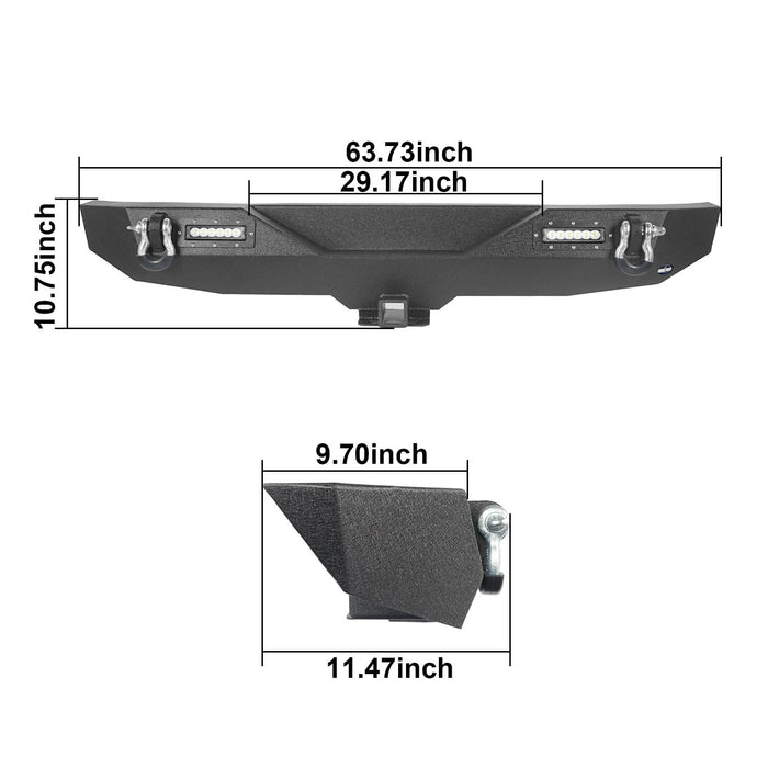 Hooke Road Jeep JL Mid Width Front Bumper with Winch Plate Rear Bumper for 2018-2019 Jeep Wrangler JL bxg543bxg505 Jeep Parts Jeep Body Kits u-Box offroad 16