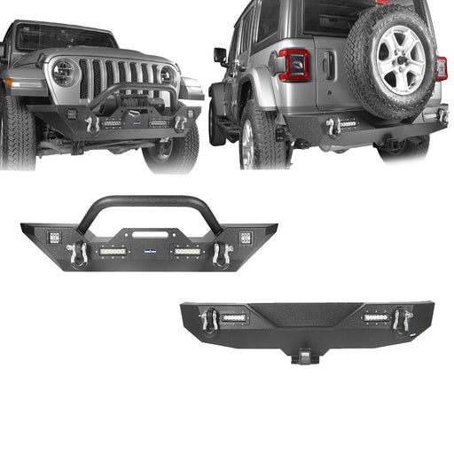 Hooke Road Jeep JL Mid Width Front Bumper with Winch Plate Rear Bumper for 2018-2019 Jeep Wrangler JL bxg543bxg505 Jeep Parts Jeep Body Kits u-Box offroad 2