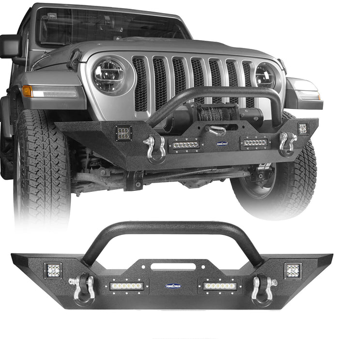 Hooke Road Jeep JL Mid Width Front Bumper with Winch Plate Rear Bumper for 2018-2019 Jeep Wrangler JL bxg543bxg505 Jeep Parts Jeep Body Kits u-Box offroad 4