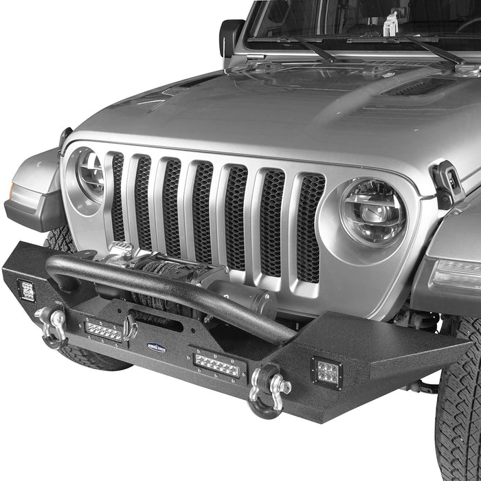Hooke Road Jeep JL Mid Width Front Bumper with Winch Plate Rear Bumper for 2018-2019 Jeep Wrangler JL bxg543bxg505 Jeep Parts Jeep Body Kits u-Box offroad 6
