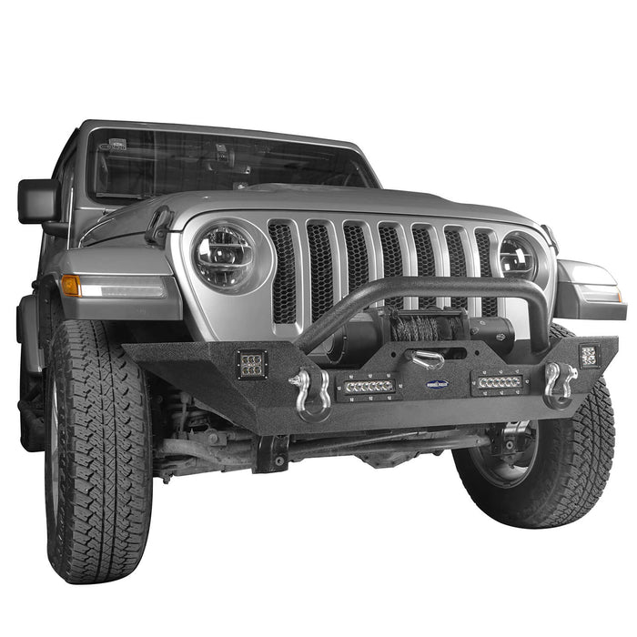 Hooke Road Jeep JL Mid Width Front Bumper with Winch Plate Rear Bumper for 2018-2019 Jeep Wrangler JL bxg543bxg505 Jeep Parts Jeep Body Kits u-Box offroad 7