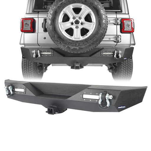 Hooke Road Jeep JL Rear Bumper with 2 inch Hitch Receiver Jeep JL Bumper Jeep JL Accessories for Jeep Wrangler JL 2018-2019 BXG505 u-Box offroad 2