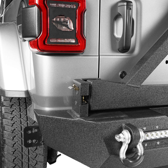 Hooke Road Jeep JL Rear Bumper with Tire Carrier for Jeep Wrangler JL 2018-2019 BXG504 u-Box offroad 6