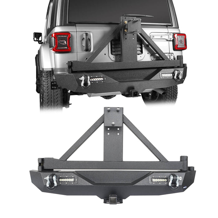 Hooke Road Jeep JL Rear Bumper with Tire Carrier for Jeep Wrangler JL 2018-2019 BXG504 u-Box offroad 2