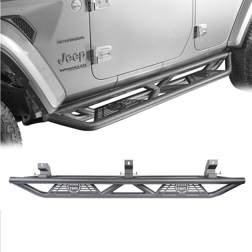 Hooke Road Jeep JL Side Steps 4 Door Running Boards Nerf Bars Rock Rails with Steps Rock Sliders for Jeep Wrangler JL 2018-2019 BXG508 u-Box offroad 2
