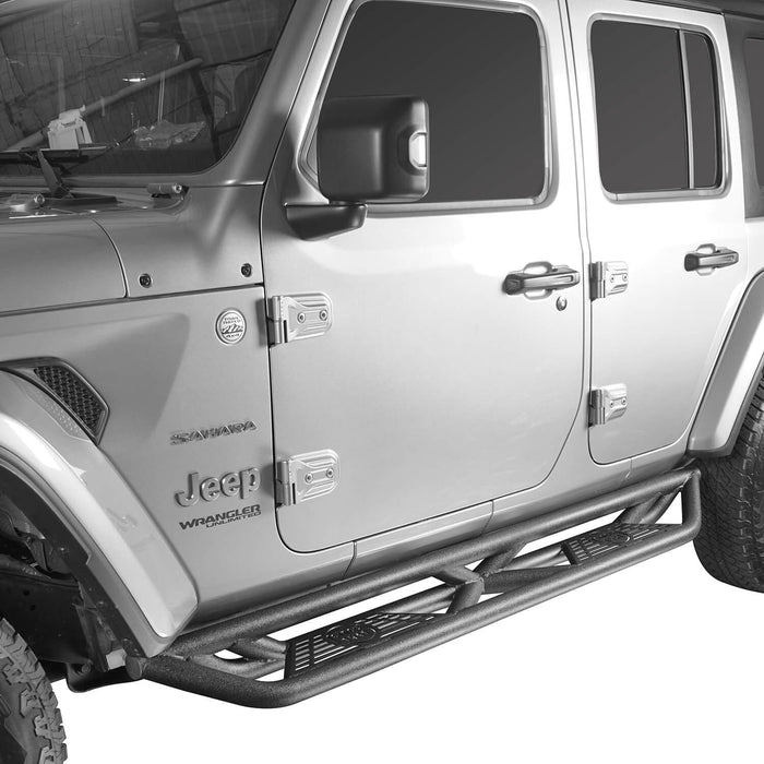 Hooke Road Jeep JL Side Steps 4 Door Running Boards Nerf Bars Rock Rails with Steps Rock Sliders for Jeep Wrangler JL 2018-2019 BXG508 u-Box offroad 3