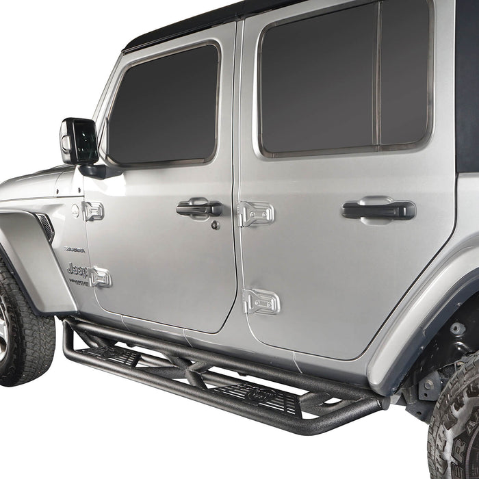 Hooke Road Jeep JL Side Steps 4 Door Running Boards Nerf Bars Rock Rails with Steps Rock Sliders for Jeep Wrangler JL 2018-2019 BXG508 u-Box offroad 5