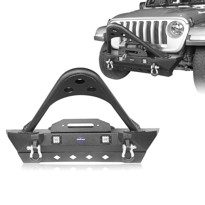 Hooke Road Jeep JL Stinger Front Bumper Stubby Front Bumper w/Winch Plate for Jeep Wrangler JL 2018-2019 BXG514 Jeep JL Front Bumper Jeep JL Accessories u-Box Offroad 2