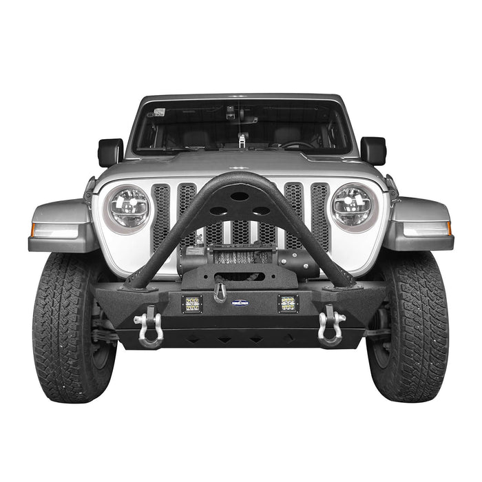 Hooke Road Jeep JL Stinger Front Bumper Stubby Front Bumper w/Winch Plate for Jeep Wrangler JL 2018-2019 BXG514 Jeep JL Front Bumper Jeep JL Accessories u-Box Offroad 3