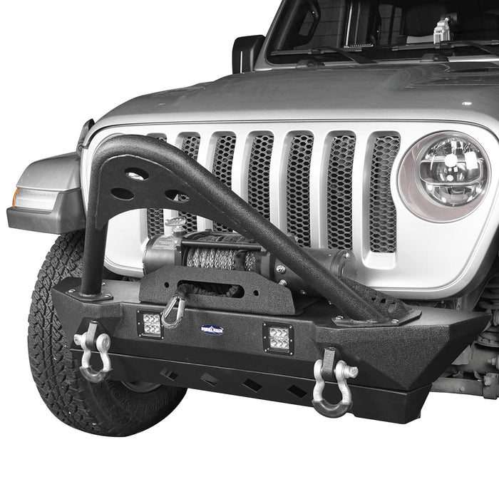 Hooke Road Jeep JL Stinger Front Bumper Stubby Front Bumper w/Winch Plate for Jeep Wrangler JL 2018-2019 BXG514 Jeep JL Front Bumper Jeep JL Accessories u-Box Offroad 4