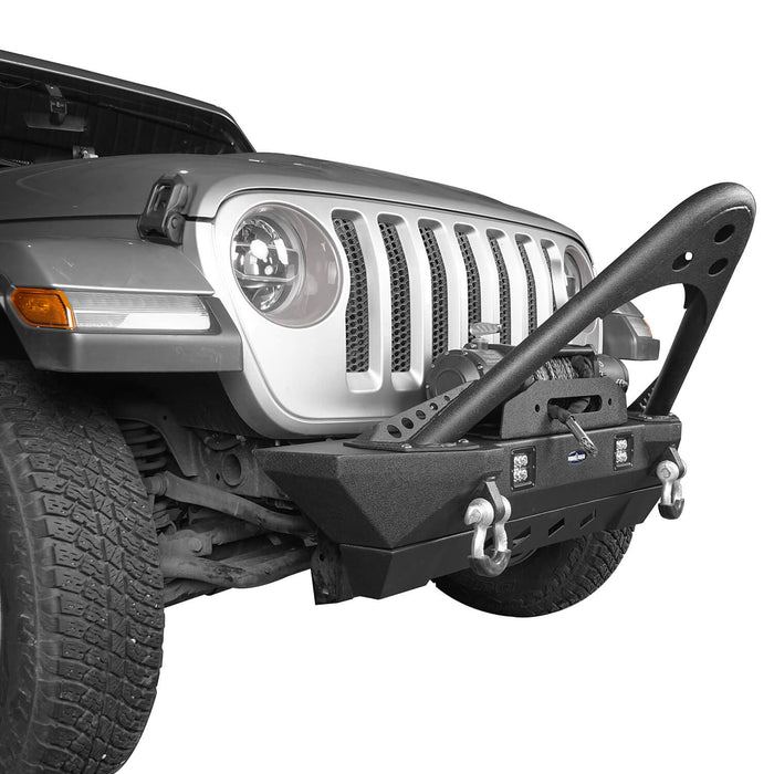 Hooke Road Jeep JL Stinger Front Bumper Stubby Front Bumper w/Winch Plate for Jeep Wrangler JL 2018-2019 BXG514 Jeep JL Front Bumper Jeep JL Accessories u-Box Offroad 5