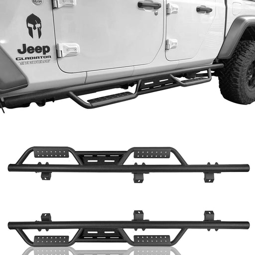 Hooke Road Side Steps Nerf Bars Solid Steel(2020 Jeep Gladiator JT)
