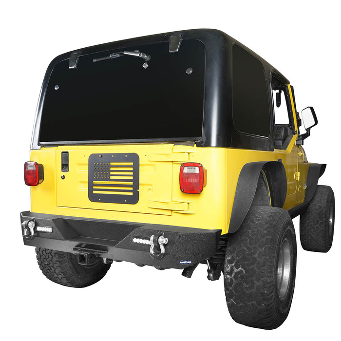 Hooke Road Jeep TJ Front and Rear Bumper Combo Blade Stubby Front Bumper Different Trail Rear Bumper for Jeep Wrangler TJ YJ 1987-2006 BXG120145 Jeep Front and Rear Bumper Combo u-Box Offroad 10