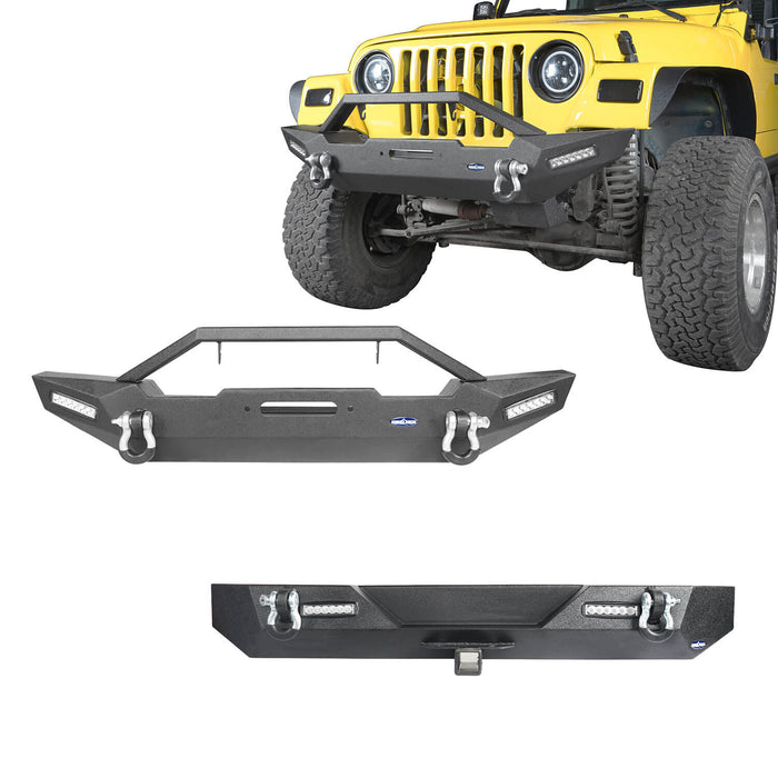 Hooke Road Jeep TJ Front and Rear Bumper Combo Blade Stubby Front Bumper Different Trail Rear Bumper for Jeep Wrangler TJ YJ 1987-2006 BXG120145 Jeep Front and Rear Bumper Combo u-Box Offroad 2