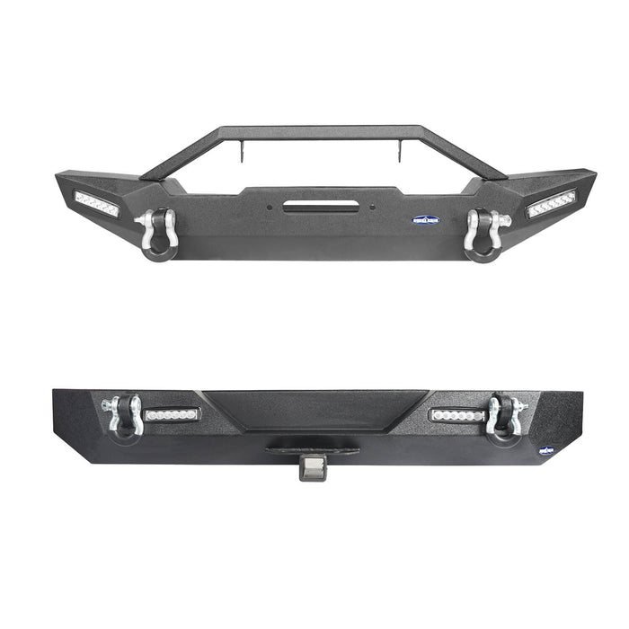 Hooke Road Jeep TJ Front and Rear Bumper Combo Blade Stubby Front Bumper Different Trail Rear Bumper for Jeep Wrangler TJ YJ 1987-2006 BXG120145 Jeep Front and Rear Bumper Combo u-Box Offroad 3