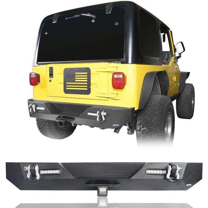 Hooke Road Jeep TJ Front and Rear Bumper Combo Blade Stubby Front Bumper Different Trail Rear Bumper for Jeep Wrangler TJ YJ 1987-2006 BXG120145 Jeep Front and Rear Bumper Combo u-Box Offroad 8