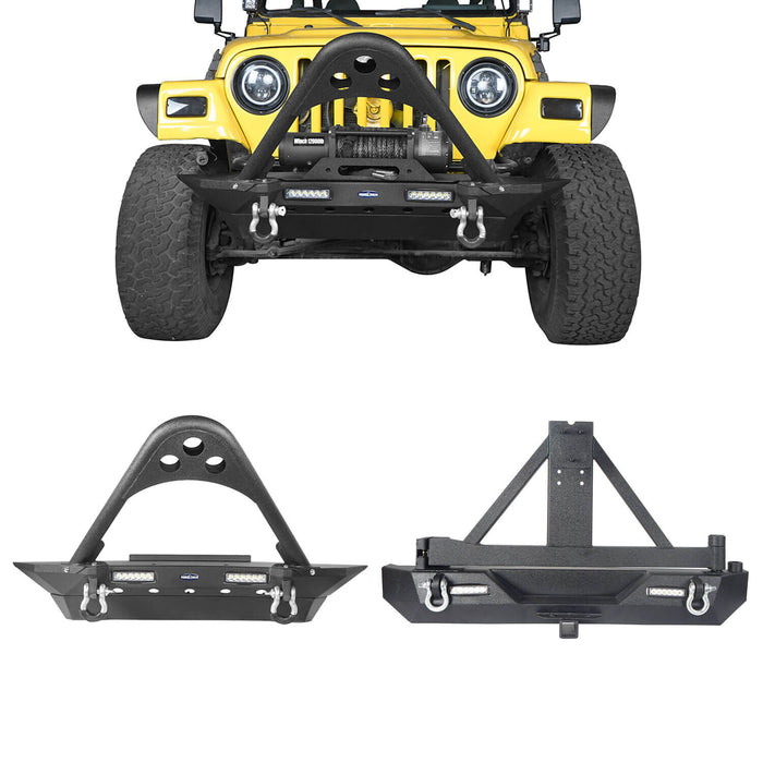 Hooke Road Jeep TJ Front and Rear Bumper Combo Stinger Stubby Front Bumper and Explorer Rear Bumper for Jeep Wrangler TJ YJ 1987-2006 BXG152130 u-Box Offroad 2