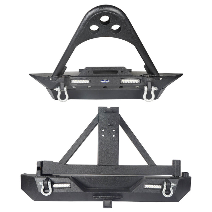 Hooke Road Jeep TJ Front and Rear Bumper Combo Stinger Stubby Front Bumper and Explorer Rear Bumper for Jeep Wrangler TJ YJ 1987-2006 BXG152130 u-Box Offroad 3