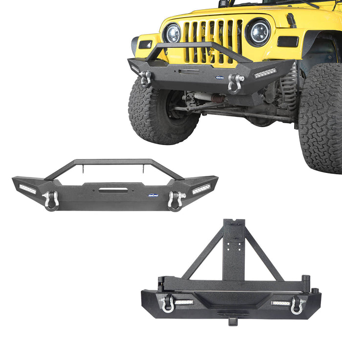 Hooke Road Jeep TJ Front and Rear Bumper Combo with Tire Carrier Blade Master Front Bumper and Explorer Rear Bumper for Jeep Wrangler YJ TJ 1987-2006 BXG130145 Jeep TJ Front and Rear Bumper Combo u-Box Offroad 2