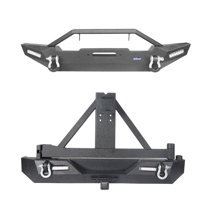 Hooke Road Jeep TJ Front and Rear Bumper Combo with Tire Carrier Blade Master Front Bumper and Explorer Rear Bumper for Jeep Wrangler YJ TJ 1987-2006 BXG130145 Jeep TJ Front and Rear Bumper Combo u-Box Offroad 3