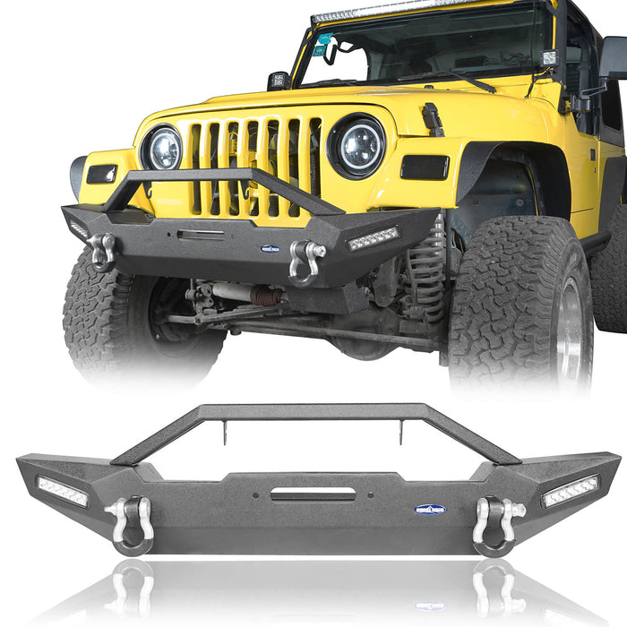Hooke Road Jeep TJ Front and Rear Bumper Combo with Tire Carrier Blade Master Front Bumper and Explorer Rear Bumper for Jeep Wrangler YJ TJ 1987-2006 BXG130145 Jeep TJ Front and Rear Bumper Combo u-Box Offroad 4
