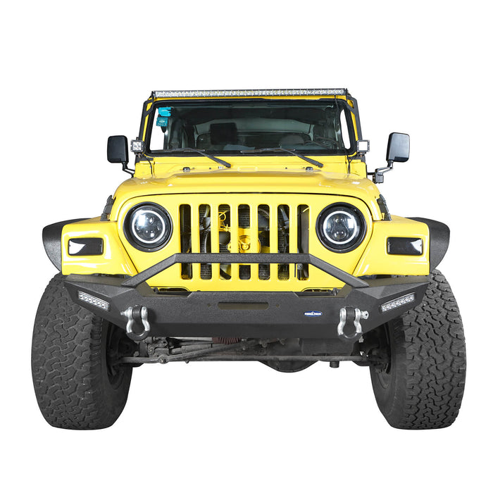 Hooke Road Jeep TJ Front and Rear Bumper Combo with Tire Carrier Blade Master Front Bumper and Explorer Rear Bumper for Jeep Wrangler YJ TJ 1987-2006 BXG130145 Jeep TJ Front and Rear Bumper Combo u-Box Offroad 5