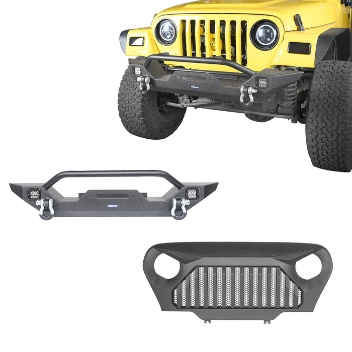 Hooke Road Jeep TJ Front Bumper and Gladiator Grille Cover Combo for Jeep Wrangler TJ 1997-2006 MMR0276BXG149 Different Trail Front Bumper u-Box Offroad 2